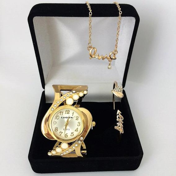 Relógio Feminino Dourado Mônaco Colar, Pulseira Presente