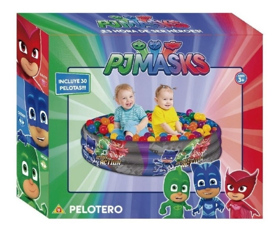 Pelotero Pj Masks Heroes En Pijamas Niños Con 30 Pelotitas
