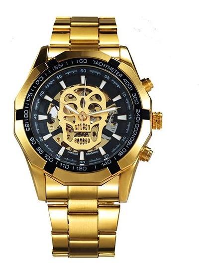 Relógio Golden Caveira Skull Luxo Masculino Primeira Linha