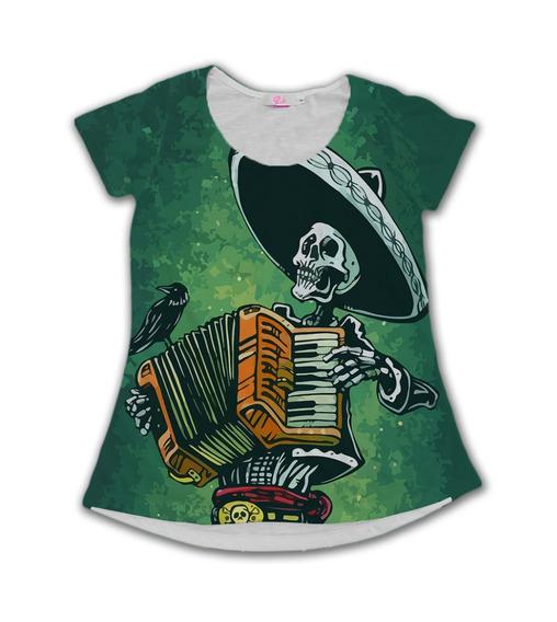 Camiseta Babylook Caveira Mexicana Catrina Sanfona Skull