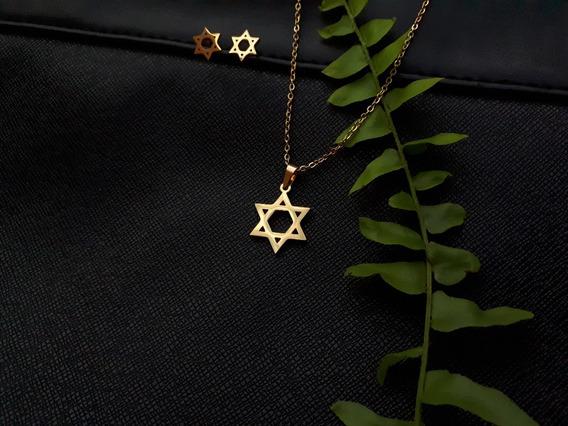 Colar E Brincos De Aço Inoxidável, Estrela De Davi, Amuleto