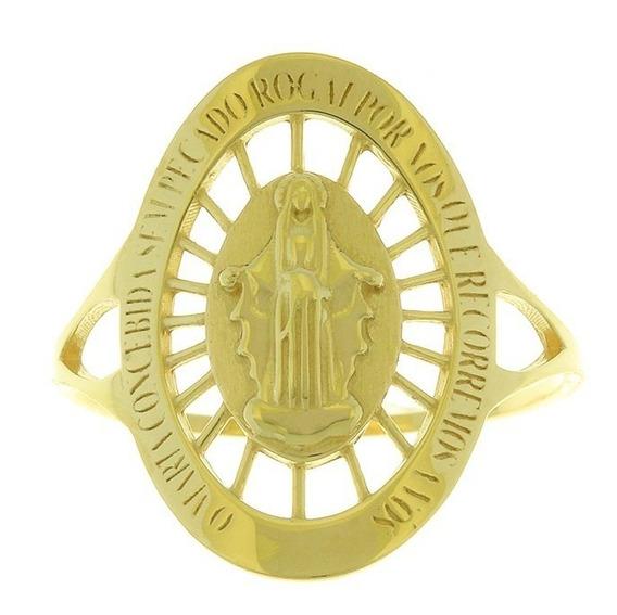 Anel Em Ouro 18k De Nossa Senhora Das Graças Na907709