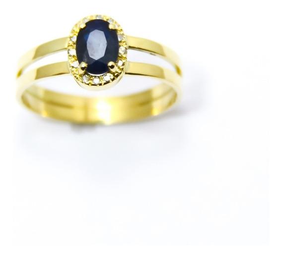 Anel Com Linda Pedra Safira Azul Natural Em Ouro 18k-750