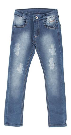 Calça Jeans Masculina Puídos Infantil Meninos Tamanhos 4-6-8