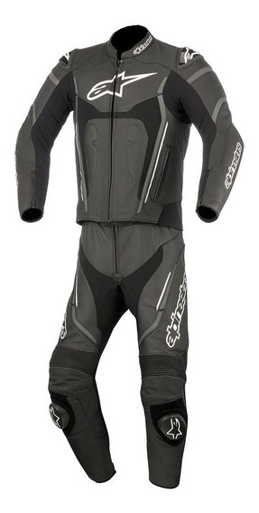 Traje De Piel Para Moto Alpinestars Motegi V2 Negro 2pzas
