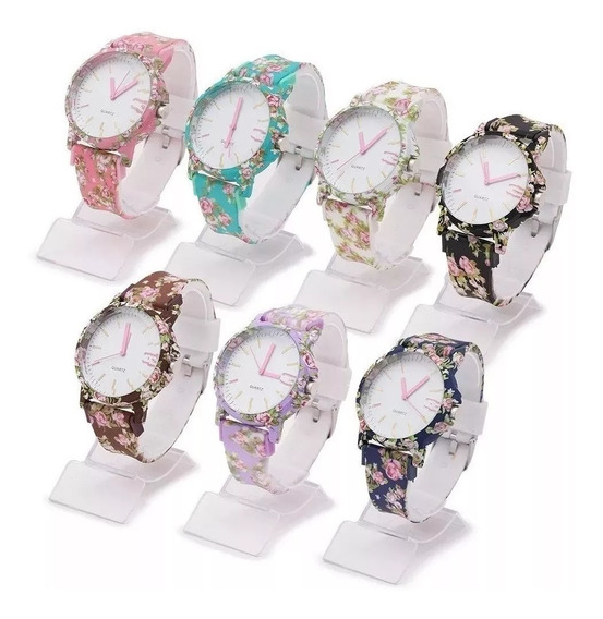 Kit 10 Relógios Feminino Silicone Flor Da Moda Atacado Promoção P/ Revenda Top Modelos Novos Re-o2