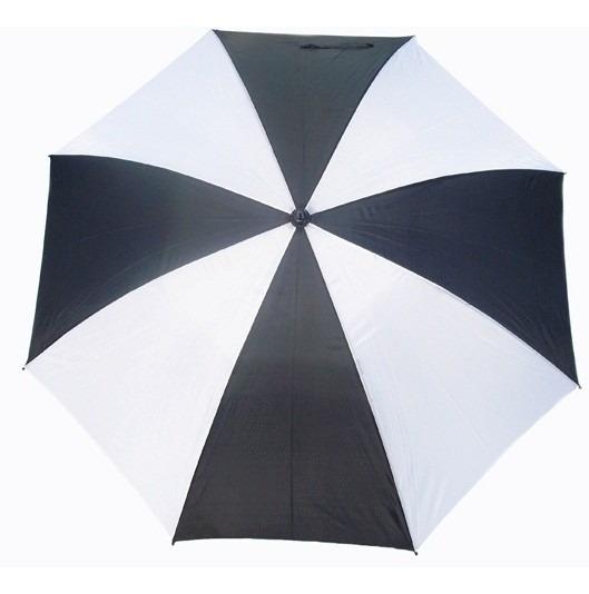 Paraguas Grande Combinado Blanco Con Negro 130cm Diámetro