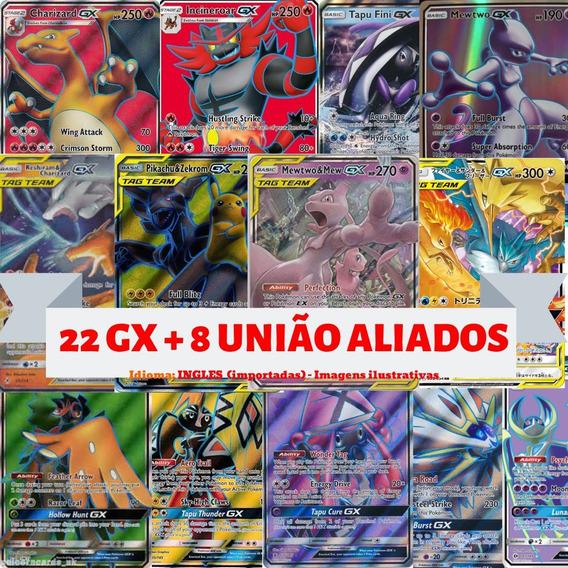 Lote 30 Cartas Pokémon: Aliados Gx, Mega Ex, Treinadores