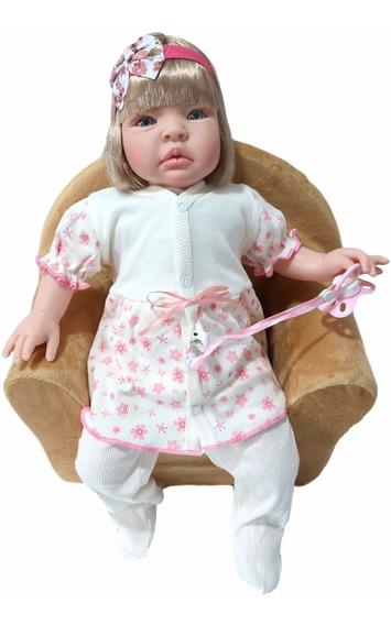 Boneca Bebe Realista Tipo Reborn Larinha Enxoval 17 Itens
