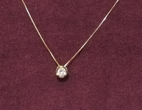 Colar Pingente Ouro 18k Ponto De Luz Diamante 24 Pontos!