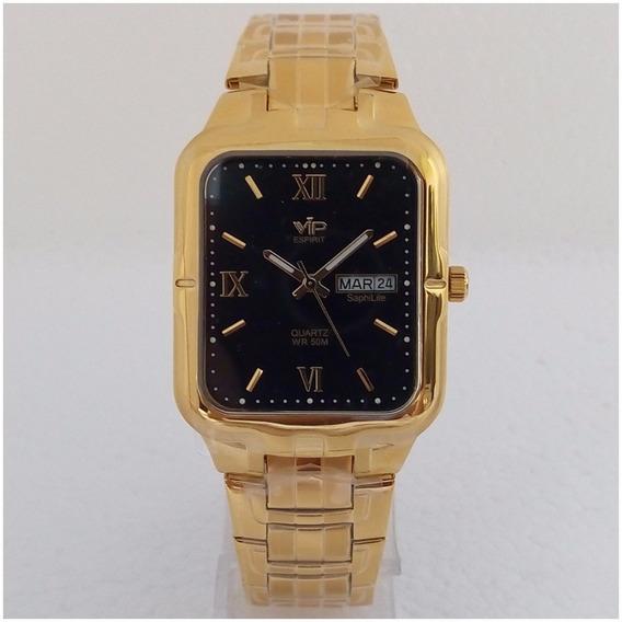 Relógio Masculino Vip Quadrado Dourado Banhado Ouro Original