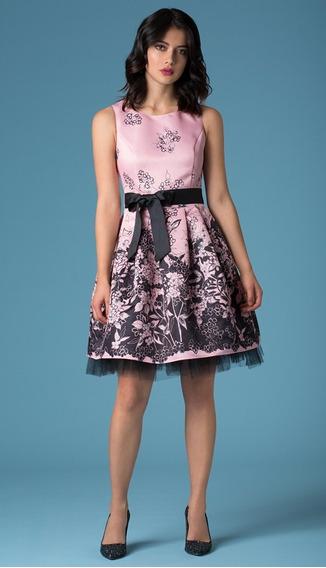 Vestido Rosa Negro Floral Ivonne Bloom Mediano Petite Nuevo