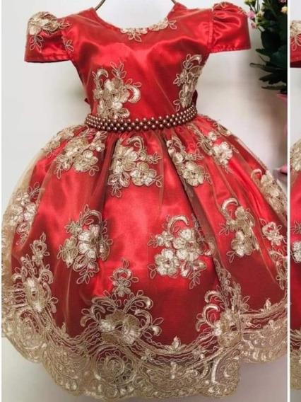 Pronta Entrega Vestido Luxo Festa Realeza Menina Vermelho