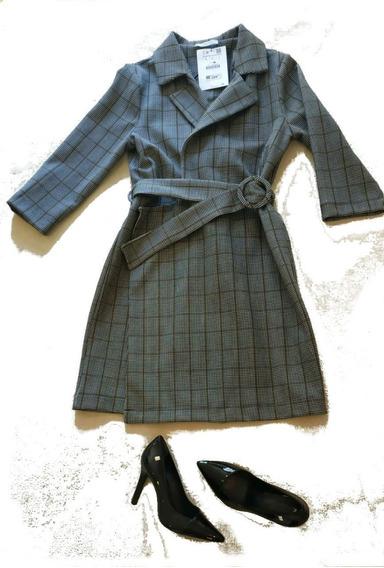 Trench Coat Zara Original Xadrez Com Cinto - Novo E Com Etiqueta - Tam G - Oferta