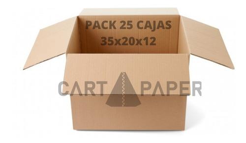 Cajas De Cartón 35x20x12 / Pack 25 Cajas / Cart Paper