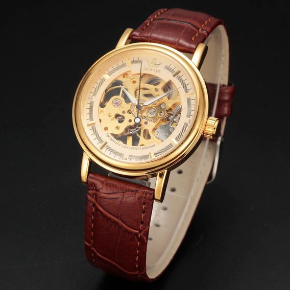Relógio Sewor,a Corda,feminino,pulseira Couro,mecânico