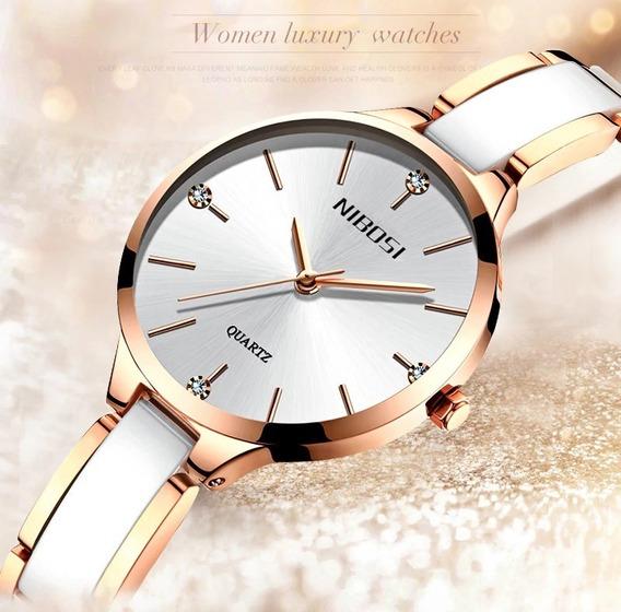 Relógio Feminino Luxo Nibosi 2330 A Prova D