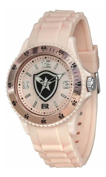 Relógio Oficial Do Botafogo Escudo - Rosa + Chaveiro De Brin