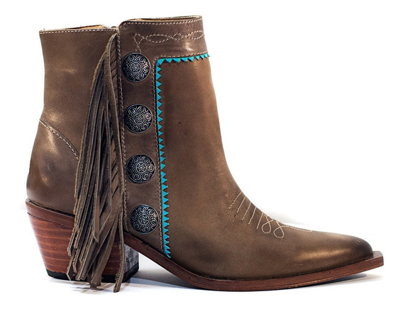 Botas De Mujer Texanas Bota Baja Cuero Zapatos