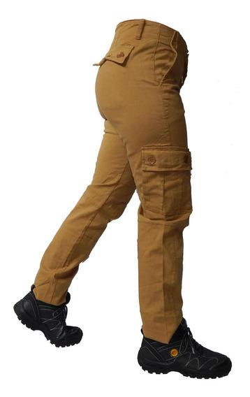Pantalon 6 Bolsill Cargo Reforzado Elastizado Mujer Jeans710