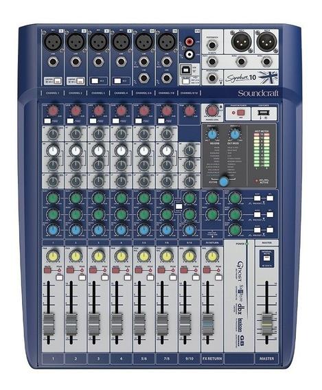 Mesa De Som Soundcraft 10 Canais Signature + Nfe + Usb Mixer