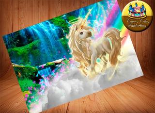 Unicornio Papel Arroz Para Bolo A4
