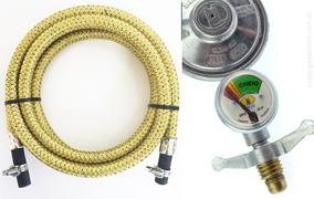 Kit Mangueira Inox Gas Cozinha 1,5 Mts Regulador Visor Imar
