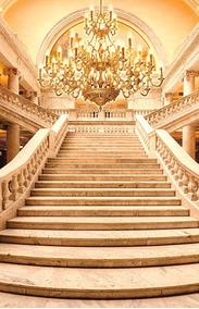 Fundo Fotográfico Tecido Escadaria Dourada Realeza 1,5x2,50m