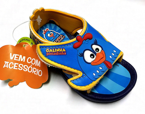Sandália Infantil Galinha Pintadinha Brinde Miniatura Corda