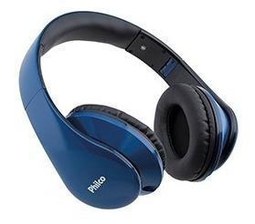 Fone De Ouvido Philco Ph02a Azul C/microfone E Plug Trrs