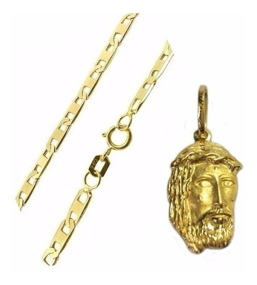 Cordão Masculino E Pingente Jesus Cristo De Ouro 18k