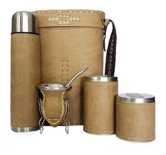 Equipo De Mate Ceramica Completo Liso Marron Set Kit Matero