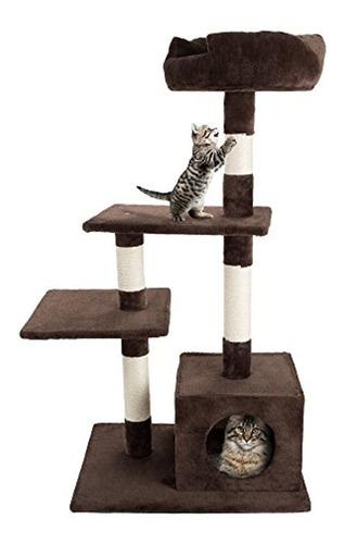Imagen 1 de 5 de Petmaker 4 Tier Cat  Plush Torre Felina De Felpa Con Postes