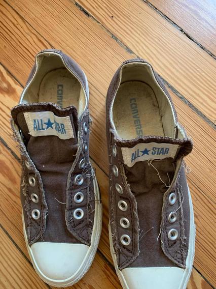 Zapatillas Converse Sin Cordones N 38 Marrones Impecables