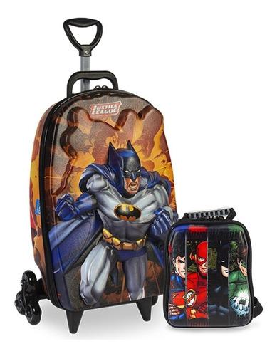 Imagem 1 de 1 de Mochila + Lancheira 3d Max Toy Liga Justiça Batman