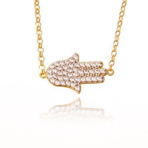 Pulseira De Ouro 18k Mão De Fátima Mais Diamantes R03