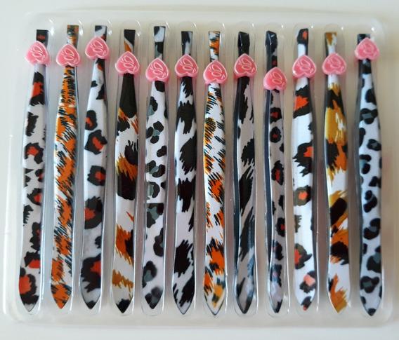 Conjunto 12 Pinças Sobrancelhas Estampadas Eyelash Curler