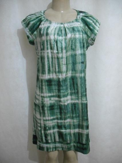 Vestido Verde Tie Die Tafeta Flor D Agua Poliamida Tam P