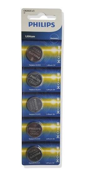 Bateria Cr2025 Philips Lithium 3v Cartela Com 5 Unidades