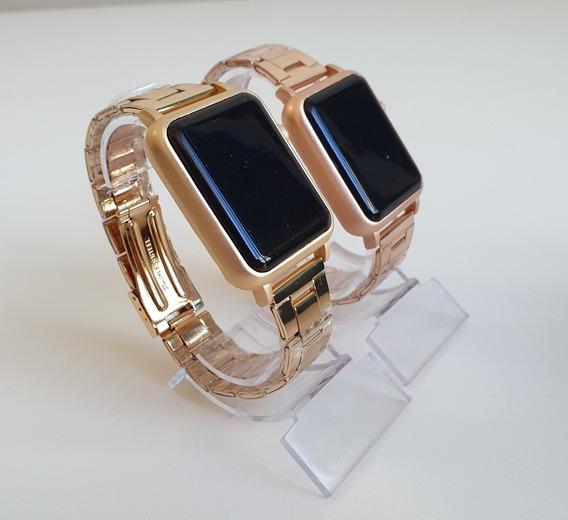 Relógio Masculino E Feminino Watch Led Digital Dourado Rosa