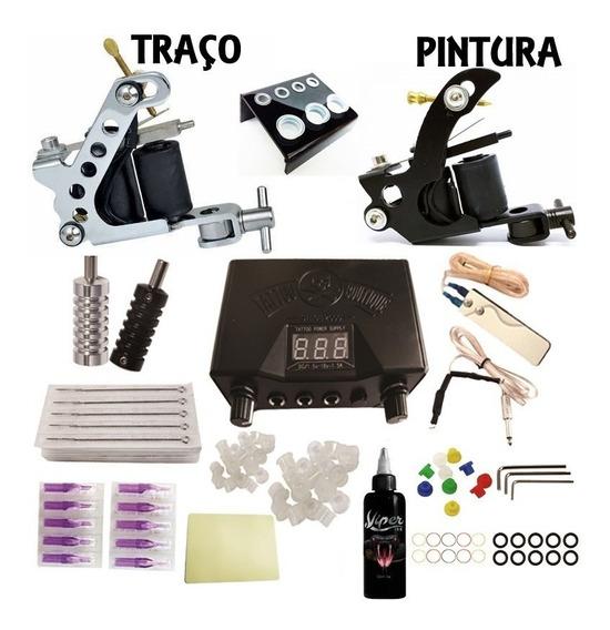Kit De Tatuagem Profissional Completo Zaion , 2 Máquinas