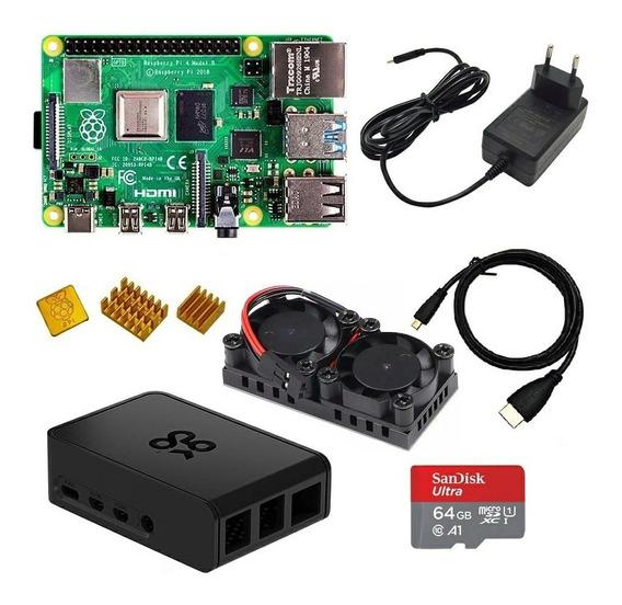 Kit Raspberry Pi 4 Pi4 4gb Fonte Hdmi Case Sd 64gb Dissip...