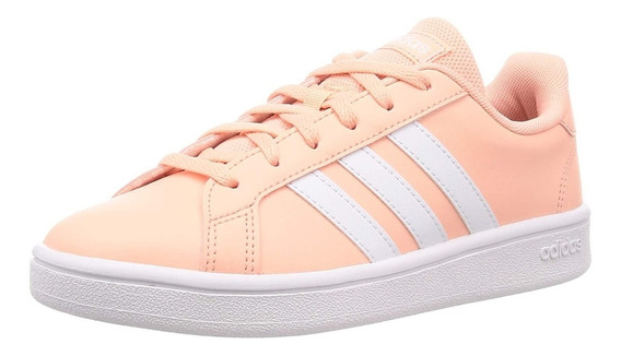 Tenis adidas Grand Court Base Naranja Melon Blanco Ee7481