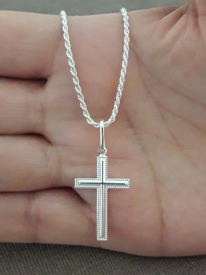 Crucifixo Prata Pura 925 Com Cordão Baiano 70cm + Brinde !!!