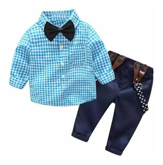 Conjunto Formal Niño Camisa Con Moño Y Tirantes