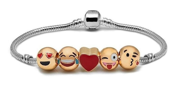 Pulseira 5 Emoji Emoticons Berloques Feliz Coração - 140