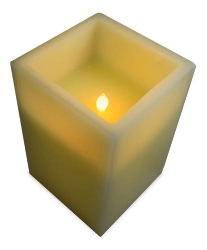 Vela Cera Cuadrada Con Luz Led 15 Cm A Pila Oferta Ult Unid