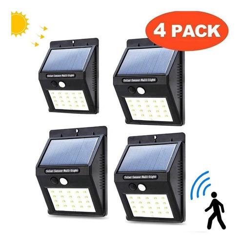 Pack De 4 Lámparas Solares Para Pared / Sensor De Movimiento
