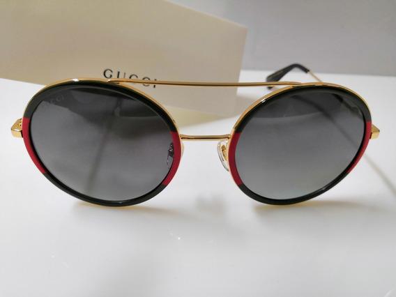 Óculos De Sol Gucci Gg0106s Bicolor E Lentes Pretas Degradê
