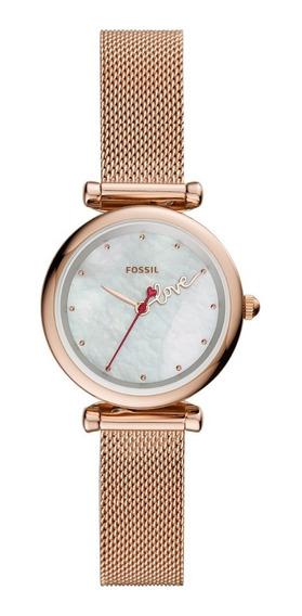 Reloj Dama Fossil Carlie Mini Es4828 Color Oro Rosado Acero